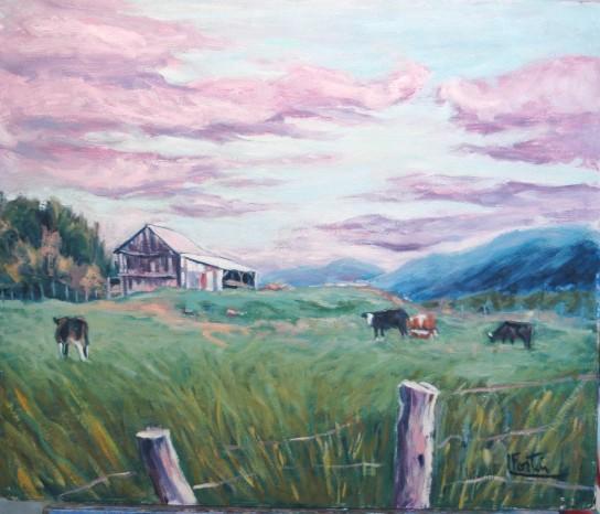 LF 818 Vaches ds le champ Huile sur masonite 20 x 24